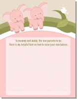 Twin Elephant Girls - Baby Shower Notes of Advice