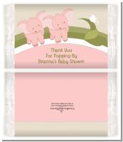 Twin Elephant Girls - Personalized Popcorn Wrapper Baby Shower Favors
