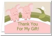 Twin Elephant Girls - Baby Shower Thank You Cards