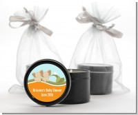 Twin Elephants - Baby Shower Black Candle Tin Favors