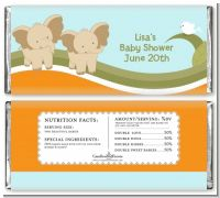 Twin Elephants - Personalized Baby Shower Candy Bar Wrappers