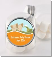 Twin Elephants - Personalized Baby Shower Candy Jar