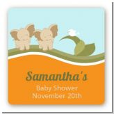 Twin Elephants - Square Personalized Baby Shower Sticker Labels