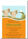 Twin Elephants - Baby Shower Petite Invitations