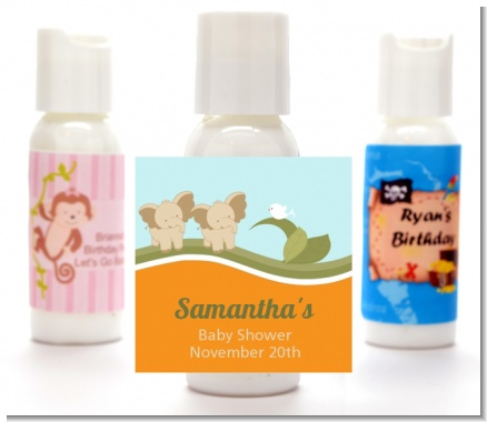 Twin Elephants - Personalized Baby Shower Lotion Favors