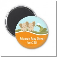 Twin Elephants - Personalized Baby Shower Magnet Favors