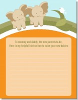 Twin Elephants - Baby Shower Notes of Advice