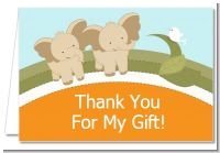 Twin Elephants - Baby Shower Thank You Cards