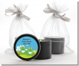 Twin Frogs - Baby Shower Black Candle Tin Favors