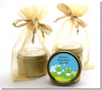 Twin Frogs - Baby Shower Gold Tin Candle Favors
