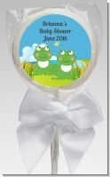 Twin Frogs - Personalized Baby Shower Lollipop Favors