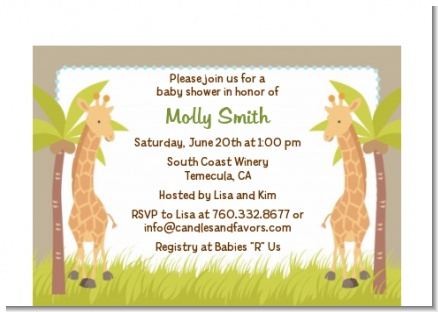 Twin Giraffes - Baby Shower Petite Invitations
