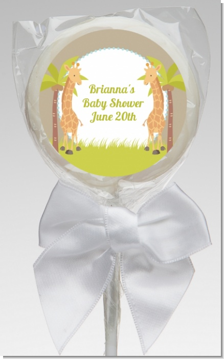 Twin Giraffes - Personalized Baby Shower Lollipop Favors