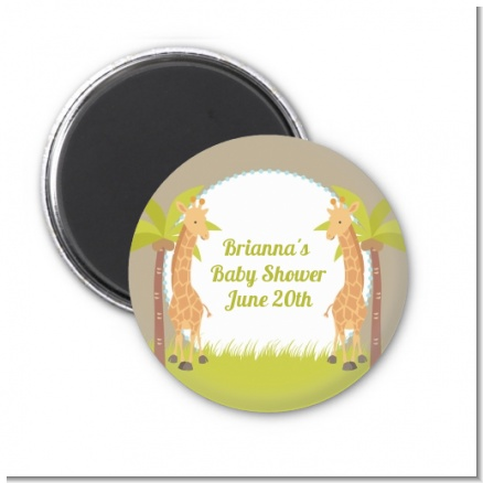 Twin Giraffes - Personalized Baby Shower Magnet Favors