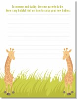 Twin Giraffes - Baby Shower Notes of Advice