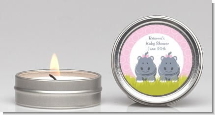 Twin Hippo Girls - Baby Shower Candle Favors