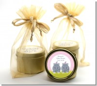 Twin Hippo Girls - Baby Shower Gold Tin Candle Favors