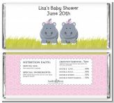 Twin Hippo Girls - Personalized Baby Shower Candy Bar Wrappers