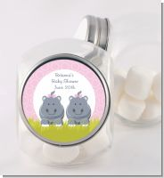 Twin Hippo Girls - Personalized Baby Shower Candy Jar