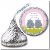 Twin Hippo Girls - Hershey Kiss Baby Shower Sticker Labels