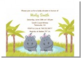 Twin Hippo Girls - Baby Shower Petite Invitations