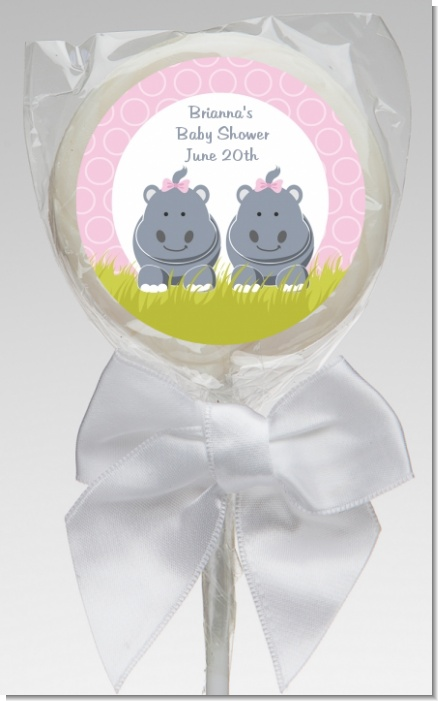 Twin Hippo Girls - Personalized Baby Shower Lollipop Favors