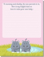 Twin Hippo Girls - Baby Shower Notes of Advice