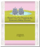 Twin Hippo Girls - Personalized Popcorn Wrapper Baby Shower Favors