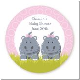 Twin Hippo Girls - Round Personalized Baby Shower Sticker Labels