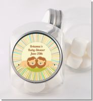 Twin Lions - Personalized Baby Shower Candy Jar
