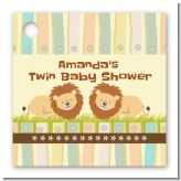 Twin Lions - Personalized Baby Shower Card Stock Favor Tags