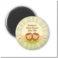 Twin Lions - Personalized Baby Shower Magnet Favors