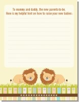 Twin Lions - Baby Shower Notes of Advice