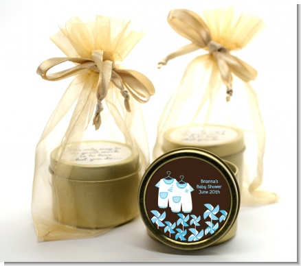 Twin Little Boy Outfits - Baby Shower Gold Tin Candle Favors