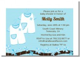 Twin Little Boy Outfits - Baby Shower Petite Invitations