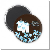 Twin Little Boy Outfits - Personalized Baby Shower Magnet Favors