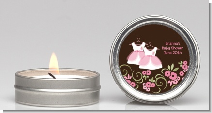 Twin Little Girl Outfits - Baby Shower Candle Favors