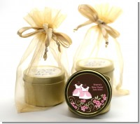 Twin Little Girl Outfits - Baby Shower Gold Tin Candle Favors