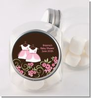 Twin Little Girl Outfits - Personalized Baby Shower Candy Jar