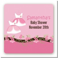 Twin Little Girl Outfits - Square Personalized Baby Shower Sticker Labels