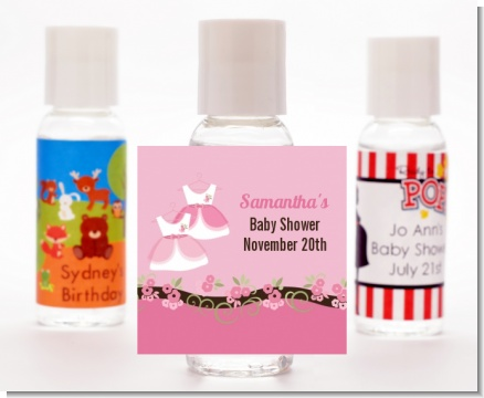 Twin Little Girl Outfits - Personalized Baby Shower Hand Sanitizers Favors