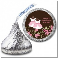 Twin Little Girl Outfits - Hershey Kiss Baby Shower Sticker Labels