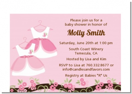 Twin Little Girl Outfits - Baby Shower Petite Invitations