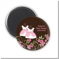 Twin Little Girl Outfits - Personalized Baby Shower Magnet Favors