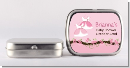Twin Little Girl Outfits - Personalized Baby Shower Mint Tins