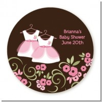 Twin Little Girl Outfits - Round Personalized Baby Shower Sticker Labels