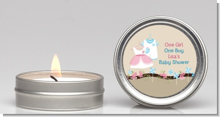 Twin Little Outfits 1 Boy and 1 Girl - Baby Shower Candle Favors