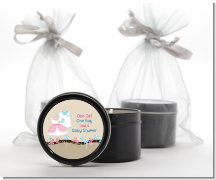 Twin Little Outfits 1 Boy and 1 Girl - Baby Shower Black Candle Tin Favors