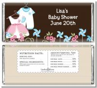 Twin Little Outfits 1 Boy and 1 Girl - Personalized Baby Shower Candy Bar Wrappers