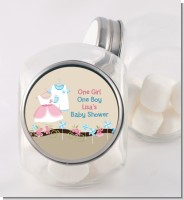 Twin Little Outfits 1 Boy and 1 Girl - Personalized Baby Shower Candy Jar